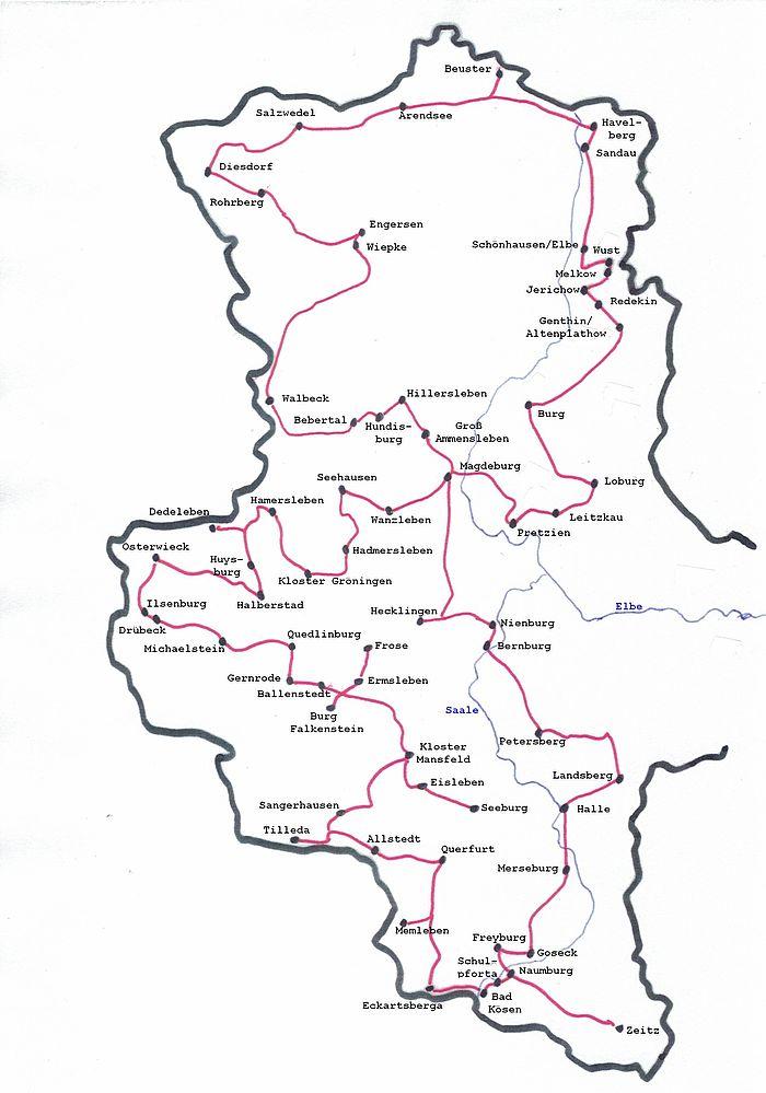Karte - Straße der Romanik